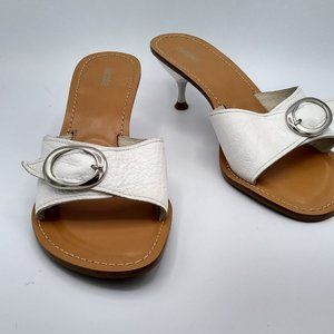 Nicole White Leather Mules Size 10
